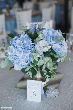 DUSTY BLUE WEDDING  nndecor.com #DisneyWeddingIdeas Blue Hydrangea Wedding, Flower Bouquet Wedding, Floral Wedding, Wedding Blue, Rustic Wedding, Trendy Wedding, Bridal Flowers, Blue Wedding Bouquets, Elegant Wedding