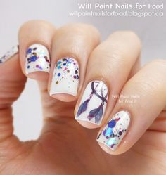 Elephants and dream catcher pictures - tribal nails and glitter