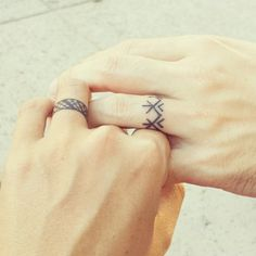 """Get super cool complimentary designs.   33 Impossibly Sweet Wedding Ring Tattoo Ideas You'll Want To Say """"I Do"""" To"""