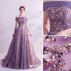 Charming Purple Prom Dresses 2020 A-Line / Princess Off-The-Shoulder Glitter Beading Pearl Rhinestone Sequins Sleeveless Backless Court Train Formal Dresses Ball Dresses, Ball Gowns, Prom Dresses, Formal Dresses, Wedding Dresses, Elegant Dresses, Pretty Dresses, Beautiful Dresses, Fantasy Dress