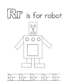r is for robot coloring page - photo #2
