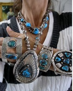 Rare Collection of Gem Grade Lavender Pit and Red Webbed Bisbee Cuffs and Necklaces, Navajo, Gem Grade