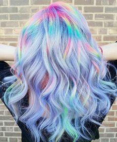 Beautiful dream hair - lavender, pastels and rainbows! Pretty Hair Color, Hair Color Dark, Unicorn Hair Color, Hairstyle Tutorial, Opal Hair, Rainbow Hair, Neon Rainbow, Lavender Hair, Colour Pop