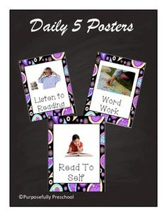 This is a pack of daily 5 posters. I know some teacher have different daily fives, so there are some different choices. The set includes:iPadRead to selfRead with a partnerListen to Reading ComputersWord WorkWork on WritingMeet with teacher