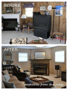 Knotty pine walls before and after painting found this Wood paneling transformation