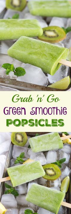 Grab n Go Green Smoothie Popsicles. I sneaky way to add vegetables to kids snacks. Full of fruits & vegetables, and perfect for snacking on a hot day Smoothie Popsicles, Smoothie Recipes, Healthy Popsicles, Popsicles Diy, Kiwi Smoothie, Homemade Popsicles, Juicer Recipes, Smoothie Cleanse, Blender Recipes