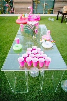 "BachBox - Pink beer pong "" Pink beer pong Best Picture For trends home For Your Taste You are looking for - Lila Party, Luau Theme Party, Hawaiian Party Decorations, Safari Party, 21st Party Decorations, 18th Party Themes, Hawaiin Theme Party, Hawaiian Party Games, Pool Party Themes"