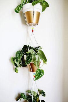 Gold Dipped Hanging Planters / via Elle Decoration #plants #DIY