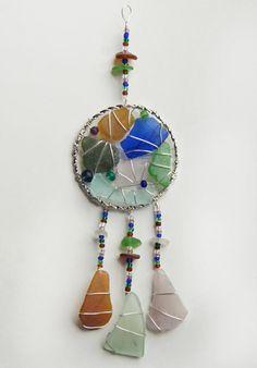 Sea Glass Suncatcher Dreamcatcher Native American by oceansbounty