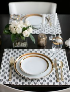 Simple beautiful gold table setting