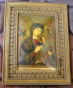 Religious Icon Blessed Mother Brass Frame by FunkAndMore on Etsy, $26.00
