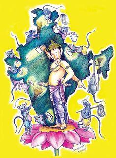 Ganesha Sketch, Ganesha Drawing, Ganesha Painting, Ganesha Art, Sri Ganesh, Ganesh Idol, Shiva Art, Krishna Art, Hindu Art