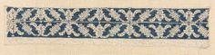 Punto di Milano lace  Italian, Late 16th century  DIMENSIONS  Overall: 10.5 x 53 cm (4 1/8 x 20 7/8 in.)  MEDIUM OR TECHNIQUE  Linen and silk; embroidery  CLASSIFICATION  Textiles