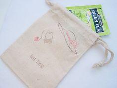 10 Tea Party Favor Gift Bag 4X6 Muslin Bag Tea by WitsEndDesign, $14.50