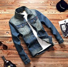2017 New High Quality Denim Shirts Men Casual Shirt Long Sleeve Fashion Slim Mens Jeans Shirts Plus Size Biker Colthing