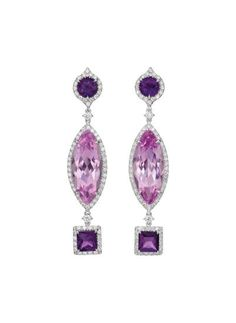 A Pair of Kunzite, Amethyst, and Diamond Ear Pendants: Each designed as a line of vari-cut amethysts and kunzite, enhanced by circular-cut diamond surrounds, mounted in 18K white gold, length 2 1/4 inches. Signed 'Margherita Burgener', with maker's mark and Italian assay marks, with an original box. Via Philips.