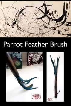 Handmade Parrot Feather Paint Brush Handmade Parrot Feather Paint Brush Elizabeth Schowachert Art Contemporary Sumi-e Brushes schowachert Ink Paintings and Ink Tools This is nbsp hellip videos brush Long Painting, Feather Painting, Drip Painting, Types Of Feathers, Parrot Feather, Alcohol Ink Crafts, Mark Making, Abstract Watercolor, Paint Brushes
