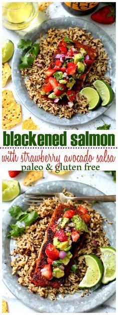 Blackened Salmon Topped With Strawberry Avocado Salsa