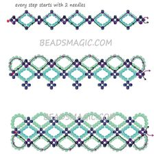 Free pattern for bracelet Santorini Beads Magic Beaded Bracelets Tutorial, Beaded Bracelet Patterns, Beaded Necklace, Seed Bead Bracelets Tutorials, Embroidery Bracelets, Bracelet Designs, Handmade Bracelets, Seed Bead Jewelry, Bead Jewellery