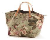 Bag Handbag RosePepper, Floral canvas bag, Lining in denim, Zipper top closure, Leather handles