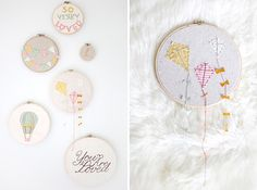 Adorable kite and hot air balloon nursery details. Photo by Simply Bloom Photography.