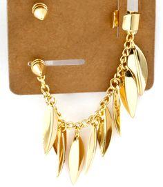 Gold Leaf Cuff Earrings