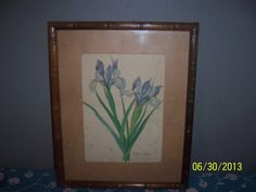 Antique Water color hand painted floral picture on canvas signed by the artist