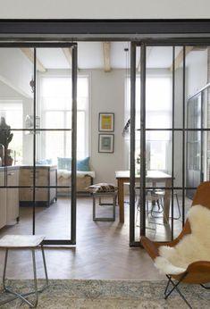 porte coulissante en verre, intérieur spectaculaire, portes amovibles en verre et fer