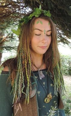 PiXiE GREEN HAIR FALLS Dreadlocks Felted Dreads Forest Faery Festival Hairband Tribal Pixie Earthy Woodland Gypsy Hair Band Psy Belly Dance