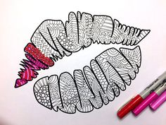 Kiss Mark - PDF Zentangle Coloring Page
