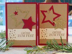Stempelkrempel mit Papier by Annies Stempelstübchen Many stars for Christmas, Weihnachtskarte mit vielen Sternen