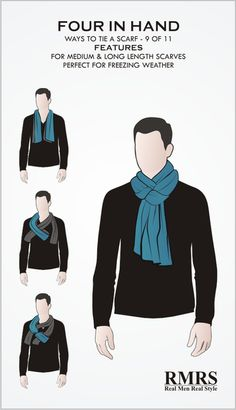 3 basic ways to wear a scarf. The Parisian knot, the 'reverse drape tuck,' and the 'four in hand' knots for tying a scarf around a man's neck. Mens Scarf Fashion, Best Mens Fashion, Scarf Knots, Diy Scarf, Ways To Wear A Scarf, How To Wear Scarves, Men's Scarves, Real Men Real Style, Scarf Tutorial
