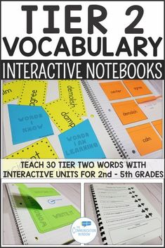 Tier 2 Vocabulary Interactive Notebook Units with Workbook Pages - 2nd grade vocabulary, 3rd grade vocabulary, 4th grade vocabulary, 5th grade vocabulary, tier two academic vocabulary teaching activity ideas #vocabulary #2ndgrade #3rdgrade #4thgrade #5thg