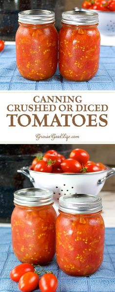 Canning your own crushed or diced tomatoes is an easy way to preserve an abundance of ripe tomatoes quickly. Canned tomatoes are handy to use in chilies, soups, stews, and casseroles.