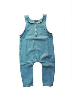 Chambray overalls. Stylish, simple baby clothes by Saxon and Sunra. #babyfashion