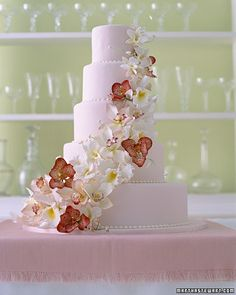 Wedding Cake with Cascading Orchids