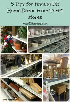 5 tips for find DIY home decor ideas at thrift stores and tips for transforming thrift items in the pretty and functional decor for your home