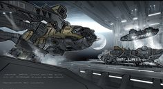 Breathtaking Concept Art of Elysiums Spaceship Hangar and Robot Deck
