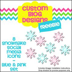 Free Download of Blue & Pink Set of 8 Snow Social Media Icons from Custom Blog Designs. Installation instructions included.