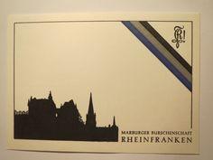 Marburg - Burschenschaft Rheinfranken - Couleurkarte / Studentika | eBay