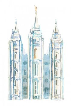 Salt Lake City Temple watercolor in blue, by Tausha Coates