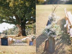 Hanging lanterns from an oak tree for the wedding ceremony
