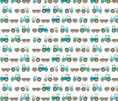 Tractors on white fabric by heleenvanbuul on Spoonflower - custom fabric