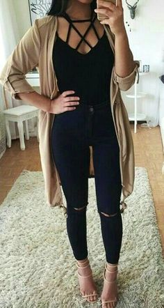 #winter #outfits  black blouse, black denim jeans, and black cardigan