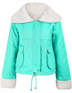 Turquoise Fur Lapel Long Sleeve Drawstring Crop Outerwear US$43.61