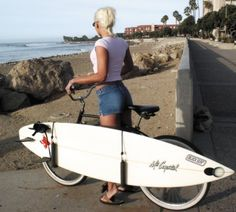 c008b61868 A surfboard rack for the side of your bicycle. Surfboard Bike Rack