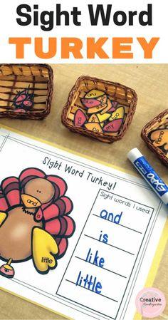 Sight Word Turkey Literacy Activity