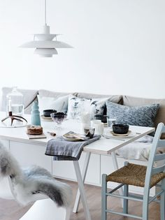 Love The Built In Bench With White Table And Mixed Chairs This Scandinavian Dining Area