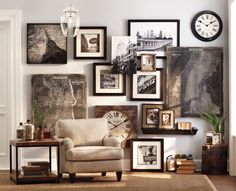 Gallery wall // depth // texture // eclectic // mixed media--makes me weak kneed!