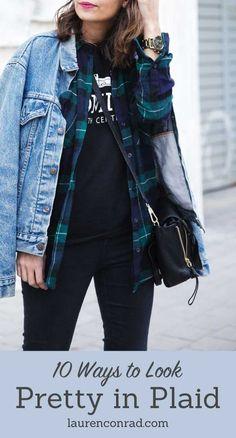[ plaid button-down + jean jacket ]